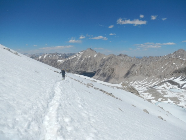 Lots of snow on the north facing side of the pass.