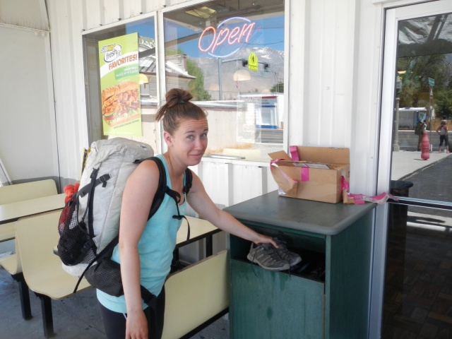 T-fox throwing out her shoes - 800 miles on the PCT, and roughly 200 before