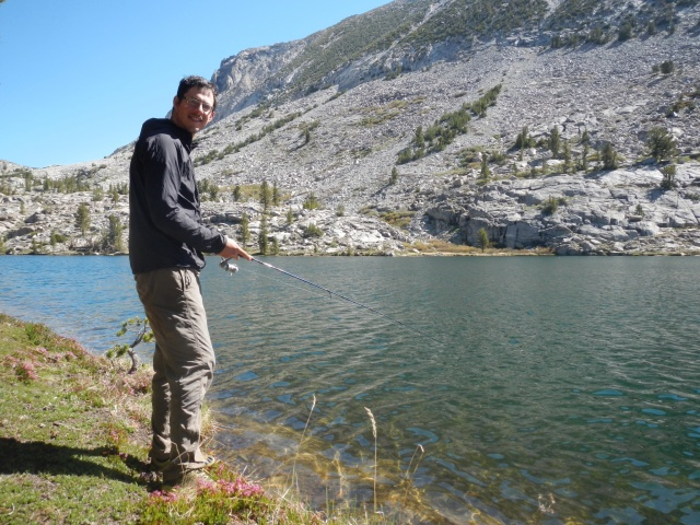 A five minute fishing session before the bugs got us! No fish this time...