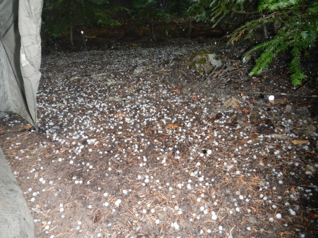 Hail outside our tent