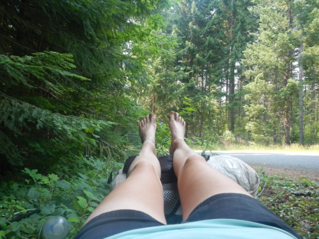 Roadside break...get the feet up!