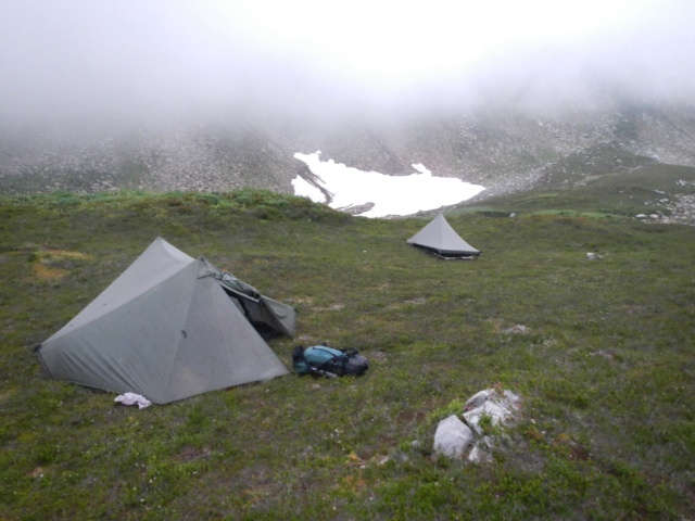 A wet campsite, but we were ready to call it a day
